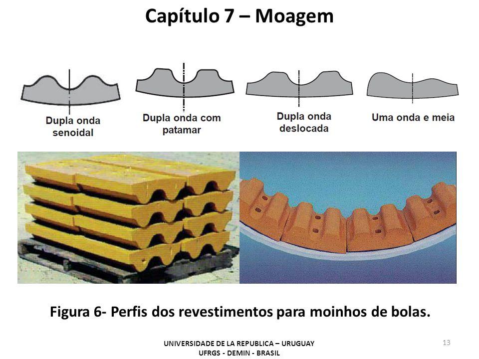 Figura 6- Perfis dos revestimentos para moinhos de bolas. Capítulo 7 – Moagem UNIVERSIDADE DE LA REPUBLICA – URUGUAY UFRGS - DEMIN - BRASIL 13