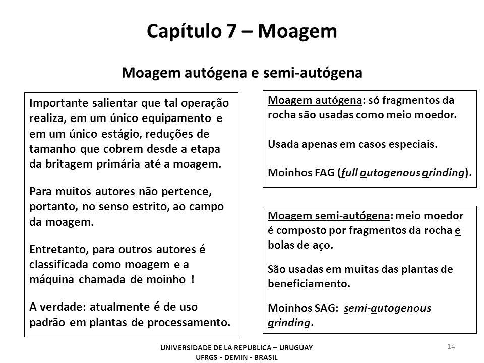 Capítulo 7 – Moagem UNIVERSIDADE DE LA REPUBLICA – URUGUAY UFRGS - DEMIN - BRASIL 14 Moagem autógena: só fragmentos da rocha são usadas como meio moed