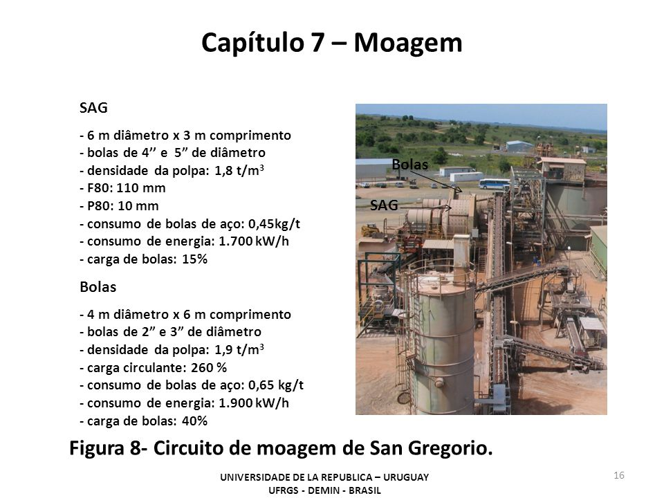 Capítulo 7 – Moagem UNIVERSIDADE DE LA REPUBLICA – URUGUAY UFRGS - DEMIN - BRASIL 16 Figura 8- Circuito de moagem de San Gregorio. SAG - 6 m diâmetro