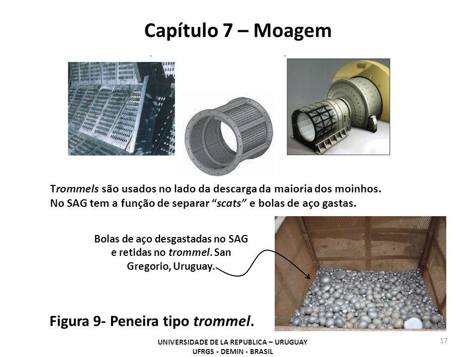 Capítulo 7 – Moagem UNIVERSIDADE DE LA REPUBLICA – URUGUAY UFRGS - DEMIN - BRASIL 17 Figura 9- Peneira tipo trommel. Trommels são usados no lado da de