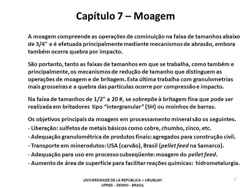UNIVERSIDADE DE LA REPUBLICA – URUGUAY UFRGS - DEMIN - BRASIL 3 A moagem compreende as operações de cominuição na faixa de tamanhos abaixo de 3/4