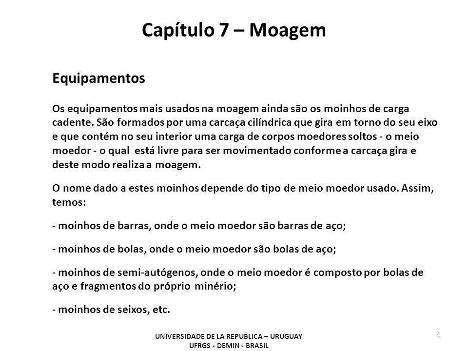 Capítulo 7 – Moagem UNIVERSIDADE DE LA REPUBLICA – URUGUAY UFRGS - DEMIN - BRASIL 25 a) moinho girando a uma velocidade menor que a velocidade crítica (VC): Força de gravidade > Força centrífuga.
