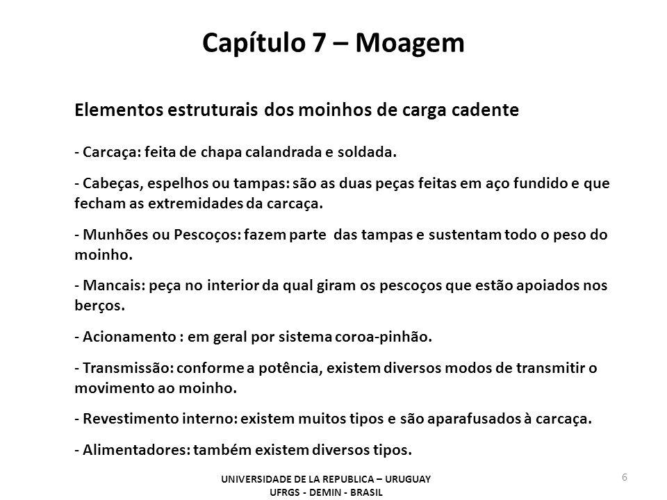 Capítulo 7 – Moagem UNIVERSIDADE DE LA REPUBLICA – URUGUAY UFRGS - DEMIN - BRASIL 6 Elementos estruturais dos moinhos de carga cadente - Carcaça: feit