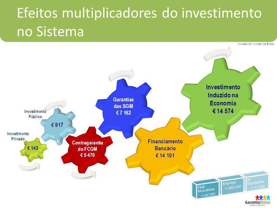 Efeitos multiplicadores do investimento no Sistema V ALORES EM MILHÕES DE UROS