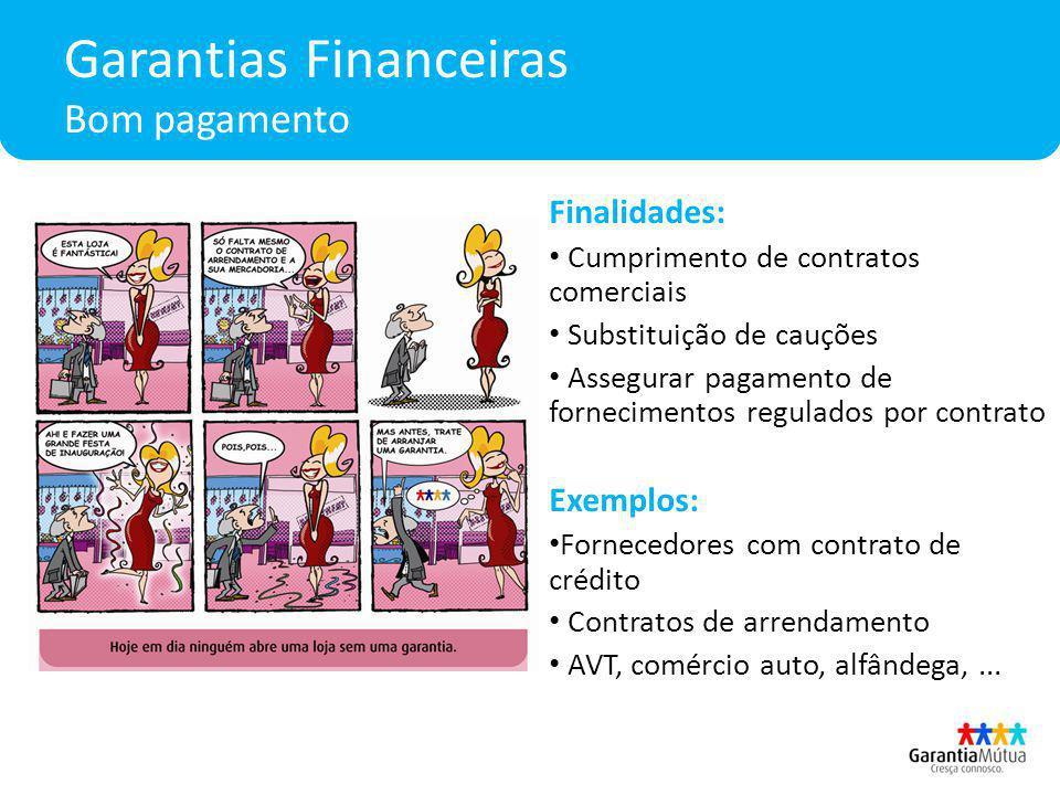 Garantias Financeiras Bom pagamento Finalidades: Cumprimento de contratos comerciais Substituição de cauções Assegurar pagamento de fornecimentos regu