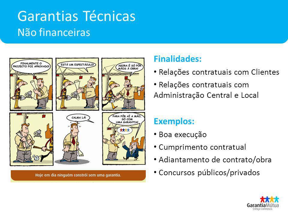 Garantias Técnicas Não financeiras Finalidades: Relações contratuais com Clientes Relações contratuais com Administração Central e Local Exemplos: Boa