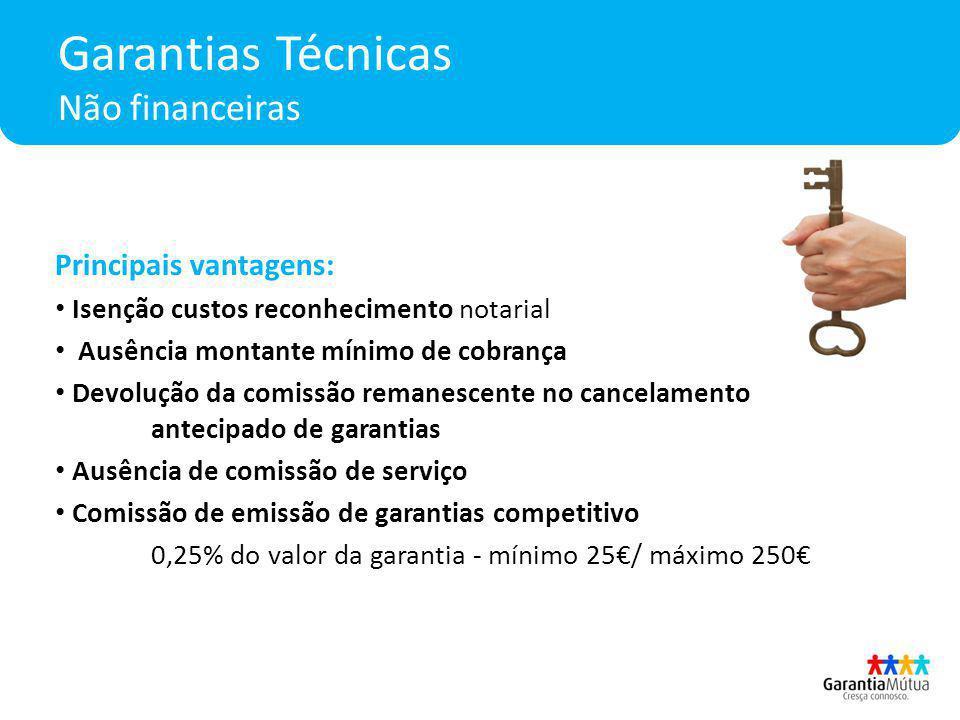 Garantias Técnicas Não financeiras Principais vantagens: Isenção custos reconhecimento notarial Ausência montante mínimo de cobrança Devolução da comi