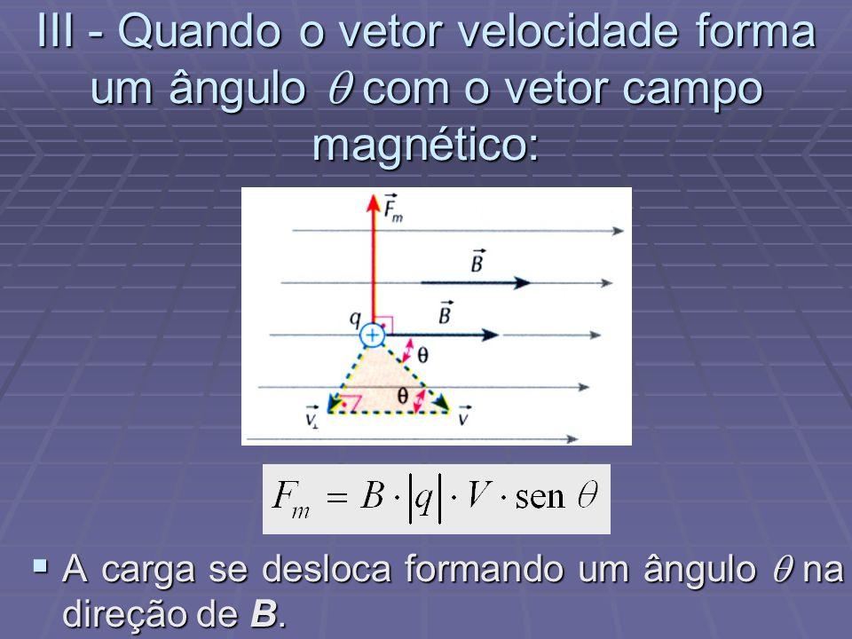 II - Quando o vetor velocidade é perpendicular ao vetor campo magnético: A força magnética Fm age perpendicularmente ao plano formado por V e B A forç