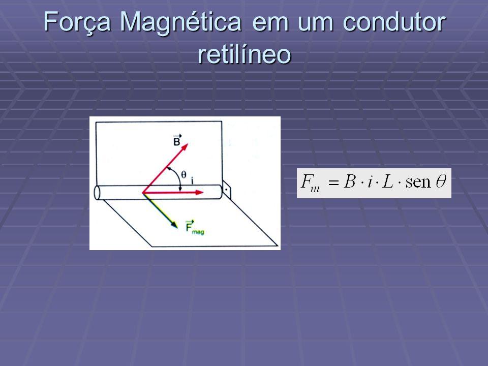 Força Magnética em um condutor retilíneo Um condutor, quando atravessado por uma corrente elétrica e submetido à ação de um campo magnético, sofre a a