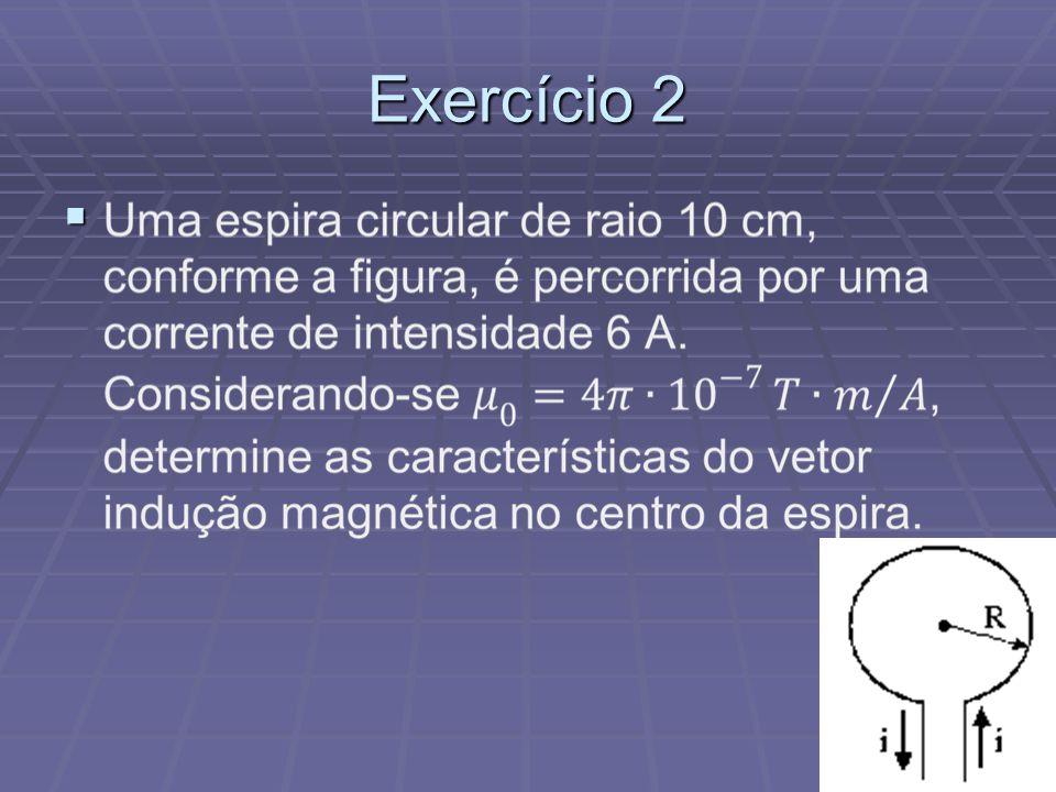 Exercício 1 Um fio condutor retilíneo e muito longo é percorrido por uma corrente elétrica igual a 4 A. Sabendo-se que a permeabilidade magnética no m
