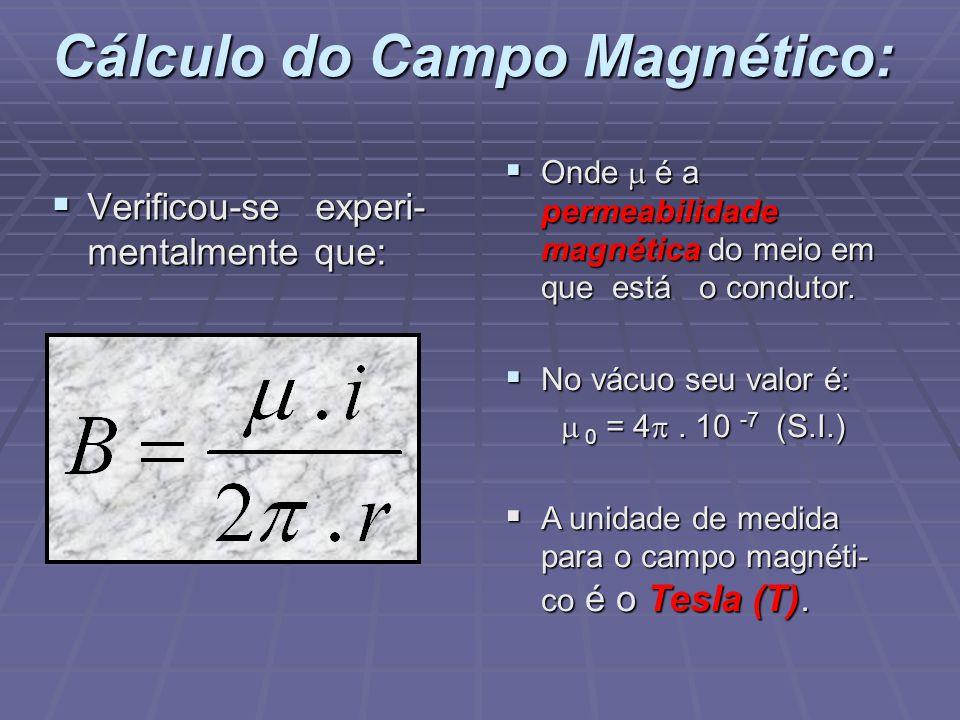 Cálculo do Campo Magnético: Verificou-se experi- mentalmente que: Verificou-se experi- mentalmente que: Onde é a permeabilidade magnética do meio em que está o condutor.