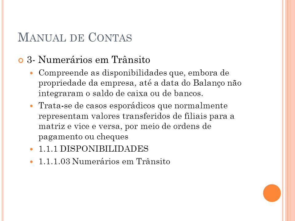 M ANUAL DE C ONTAS 3- Numerários em Trânsito Compreende as disponibilidades que, embora de propriedade da empresa, até a data do Balanço não integrara