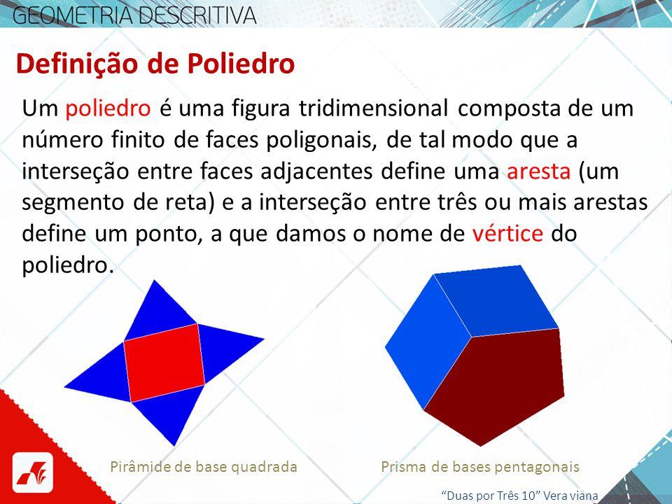Poliedros Os vértices, as arestas e as faces são os elementos de um poliedro: aresta face vértice Tetraedro (pirâmide de quatro faces) Duas por Três 10 Vera viana