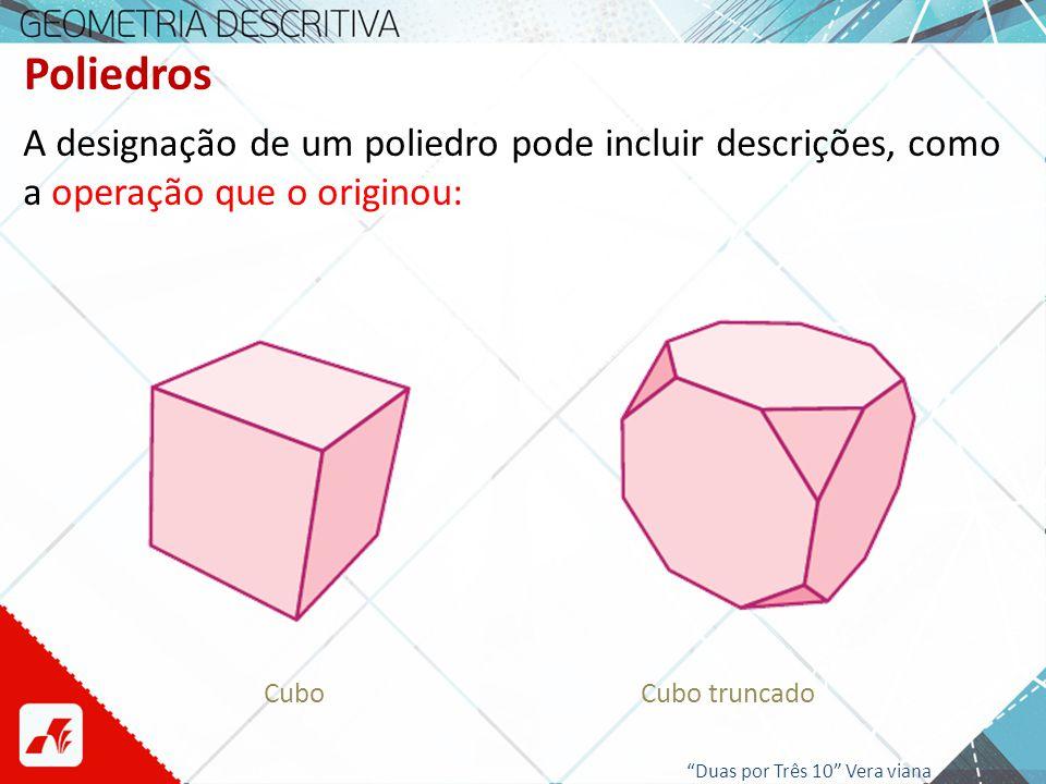 Poliedros A designação de um poliedro pode incluir descrições, como o nome de quem o descreveu ou investigou: Sólido de Lord Kelvin (Octaedro Truncado) Sólido de Dürer Saber + : mathworld.wolfram.com/ DuerersSolid.html Duas por Três 10 Vera viana