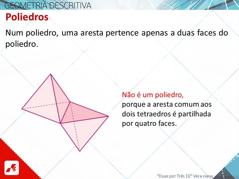 Poliedros Num poliedro, uma aresta pertence apenas a duas faces do poliedro. Não é um poliedro, porque a aresta comum aos dois tetraedros é partilhada