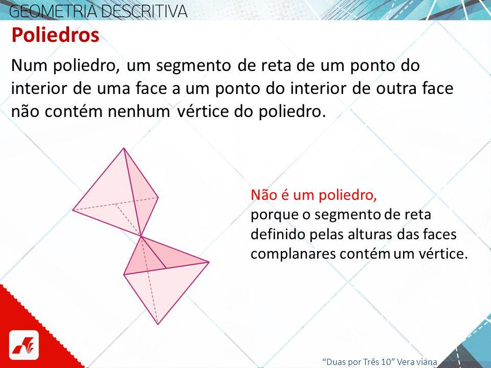 Poliedros Num poliedro, um segmento de reta de um ponto do interior de uma face a um ponto do interior de outra face não contém nenhum vértice do poli