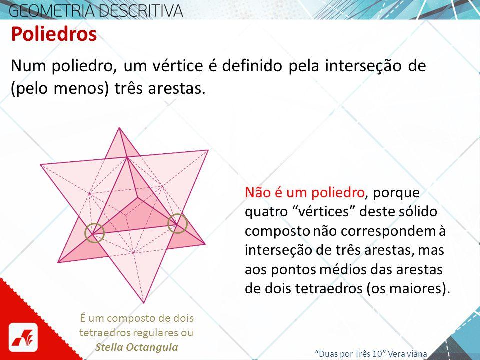 Poliedros Num poliedro, um vértice é definido pela interseção de (pelo menos) três arestas. Não é um poliedro, porque quatro vértices deste sólido com