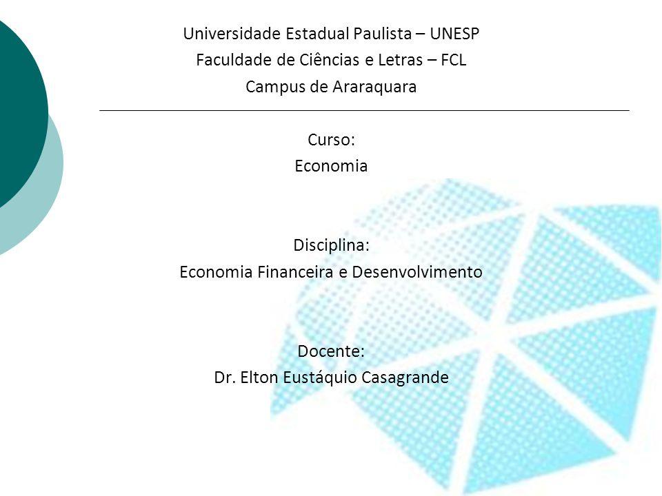 Universidade Estadual Paulista – UNESP Faculdade de Ciências e Letras – FCL Campus de Araraquara Curso: Economia Disciplina: Economia Financeira e Des