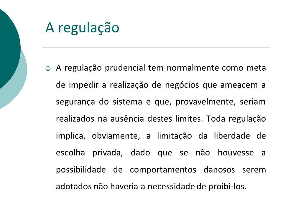 A regulação A regulação prudencial tem normalmente como meta de impedir a realização de negócios que ameacem a segurança do sistema e que, provavelmen