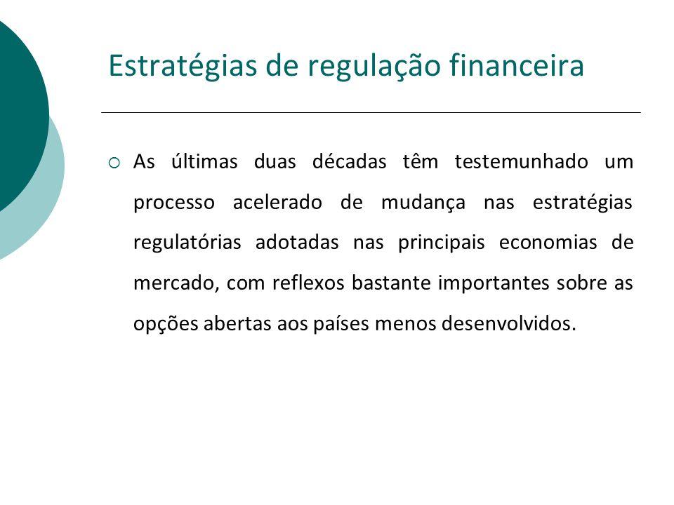 Estratégias de regulação financeira As últimas duas décadas têm testemunhado um processo acelerado de mudança nas estratégias regulatórias adotadas na