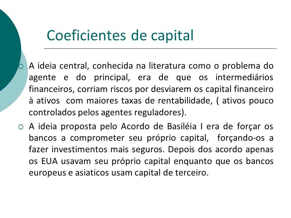 Coeficientes de capital A ideia central, conhecida na literatura como o problema do agente e do principal, era de que os intermediários financeiros, c