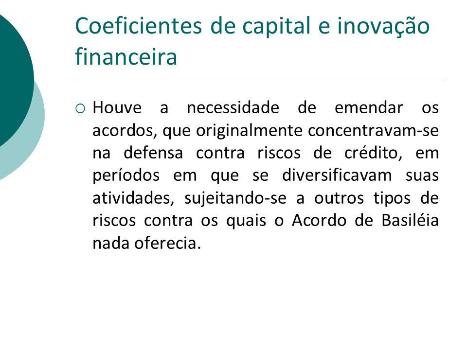 Coeficientes de capital e inovação financeira Houve a necessidade de emendar os acordos, que originalmente concentravam-se na defensa contra riscos de