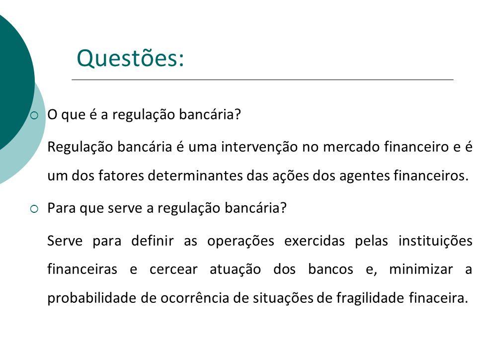 Questões: O que é a regulação bancária? Regulação bancária é uma intervenção no mercado financeiro e é um dos fatores determinantes das ações dos agen