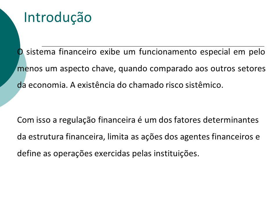 Introdução O sistema financeiro exibe um funcionamento especial em pelo menos um aspecto chave, quando comparado aos outros setores da economia. A exi