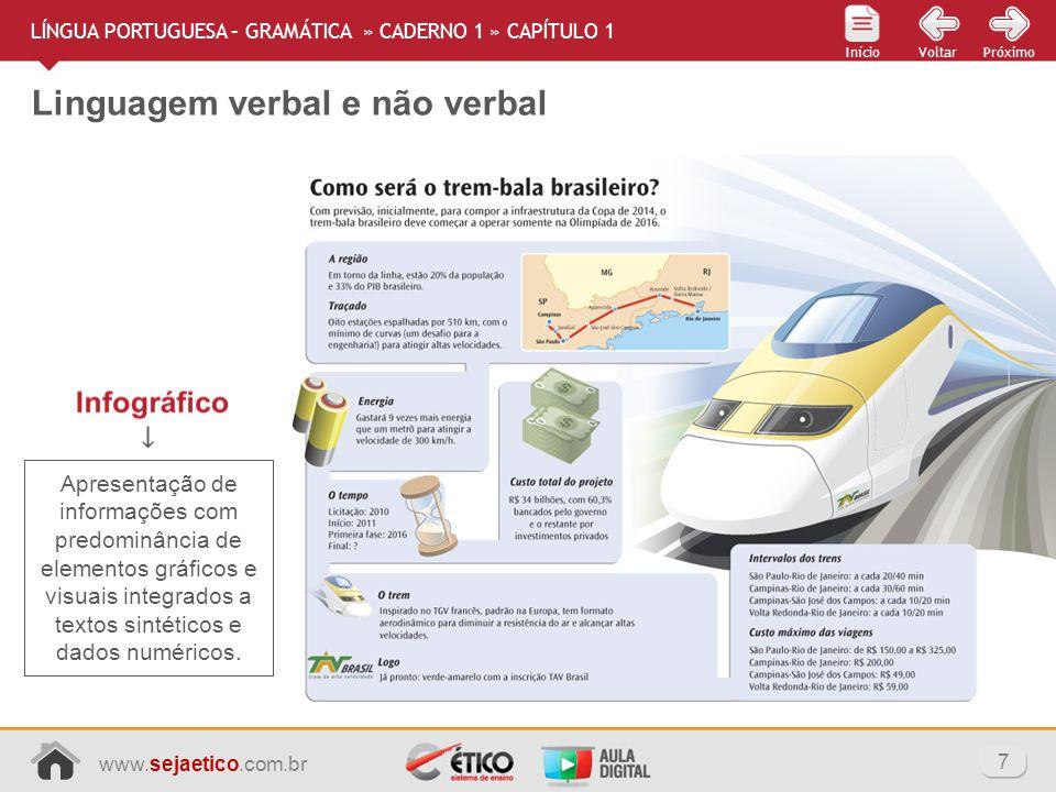 www.sejaetico.com.br 7 PróximoVoltarInício Linguagem verbal e não verbal LÍNGUA PORTUGUESA – GRAMÁTICA » CADERNO 1 » CAPÍTULO 1 Apresentação de inform