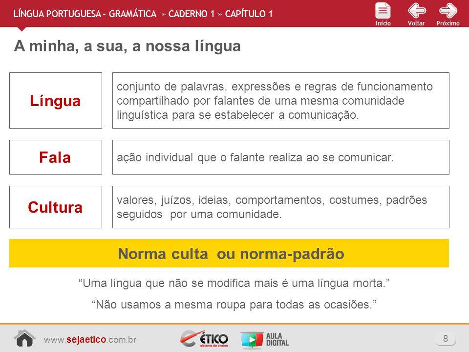 www.sejaetico.com.br 8 PróximoVoltarInício A minha, a sua, a nossa língua LÍNGUA PORTUGUESA – GRAMÁTICA » CADERNO 1 » CAPÍTULO 1 Uma língua que não se
