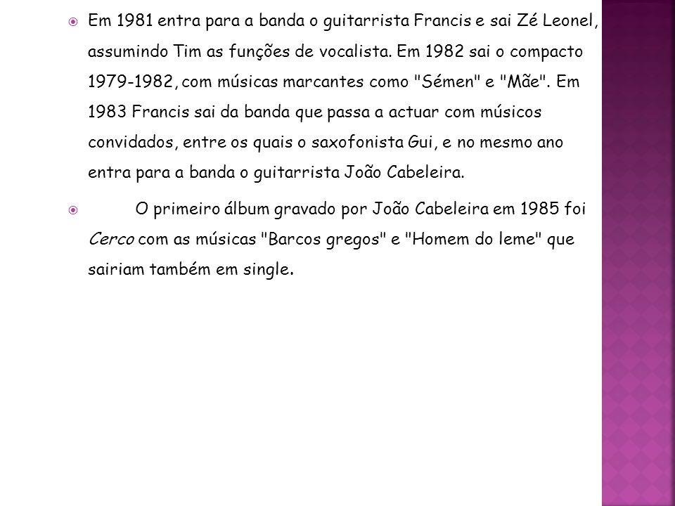Em 1981 entra para a banda o guitarrista Francis e sai Zé Leonel, assumindo Tim as funções de vocalista. Em 1982 sai o compacto 1979-1982, com músicas