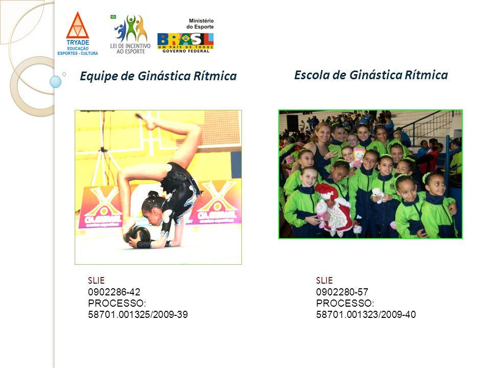 SLIE 0902286-42 PROCESSO: 58701.001325/2009-39 Equipe de Ginástica Rítmica Escola de Ginástica Rítmica SLIE 0902280-57 PROCESSO: 58701.001323/2009-40