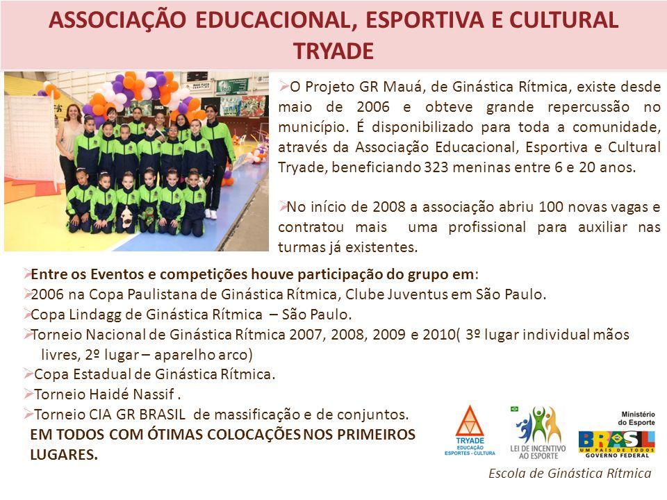 ASSOCIAÇÃO EDUCACIONAL, ESPORTIVA E CULTURAL TRYADE O Projeto GR Mauá, de Ginástica Rítmica, existe desde maio de 2006 e obteve grande repercussão no