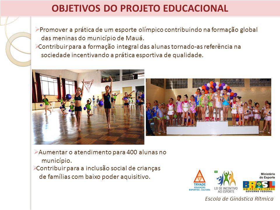 OBJETIVOS DO PROJETO EDUCACIONAL Promover a prática de um esporte olímpico contribuindo na formação global das meninas do município de Mauá. Contribui