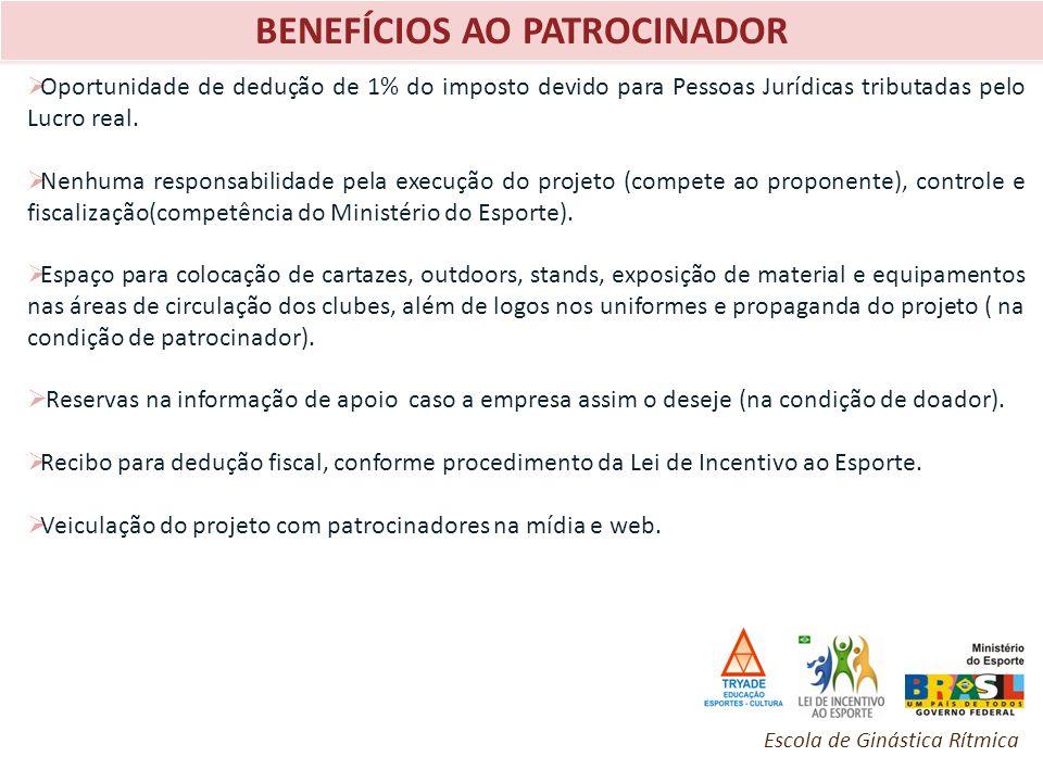 BENEFÍCIOS AO PATROCINADOR Oportunidade de dedução de 1% do imposto devido para Pessoas Jurídicas tributadas pelo Lucro real. Nenhuma responsabilidade
