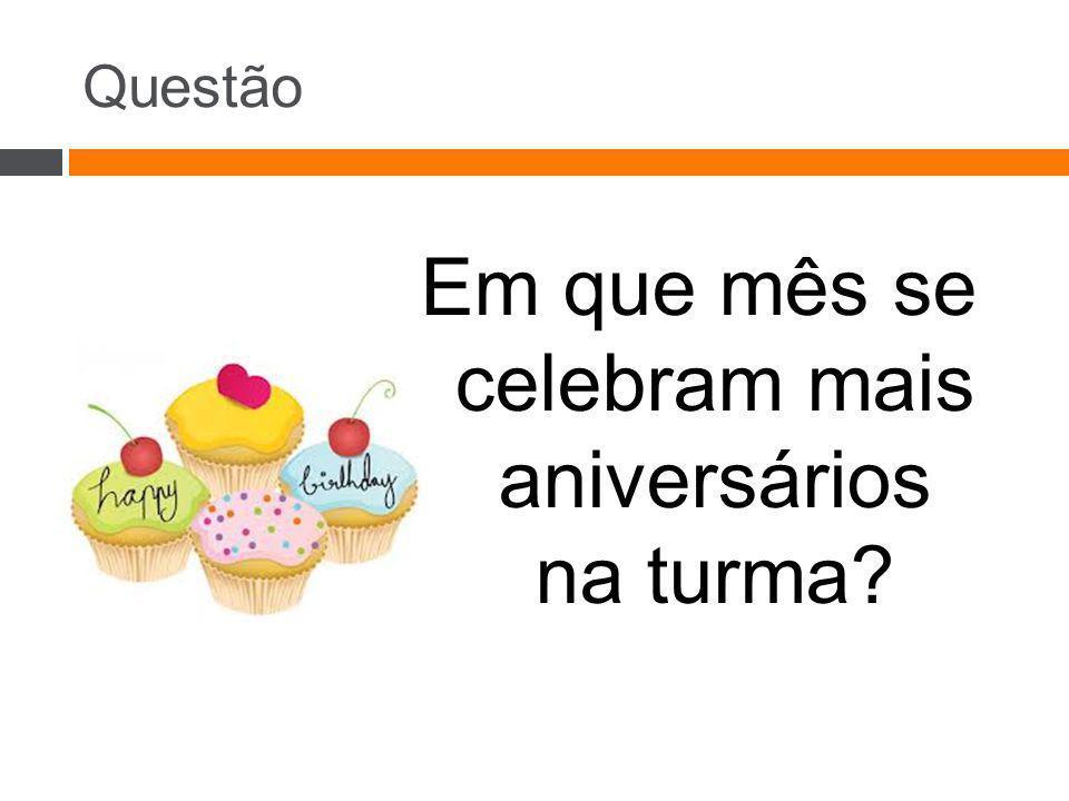 Questão Em que mês se celebram mais aniversários na turma?