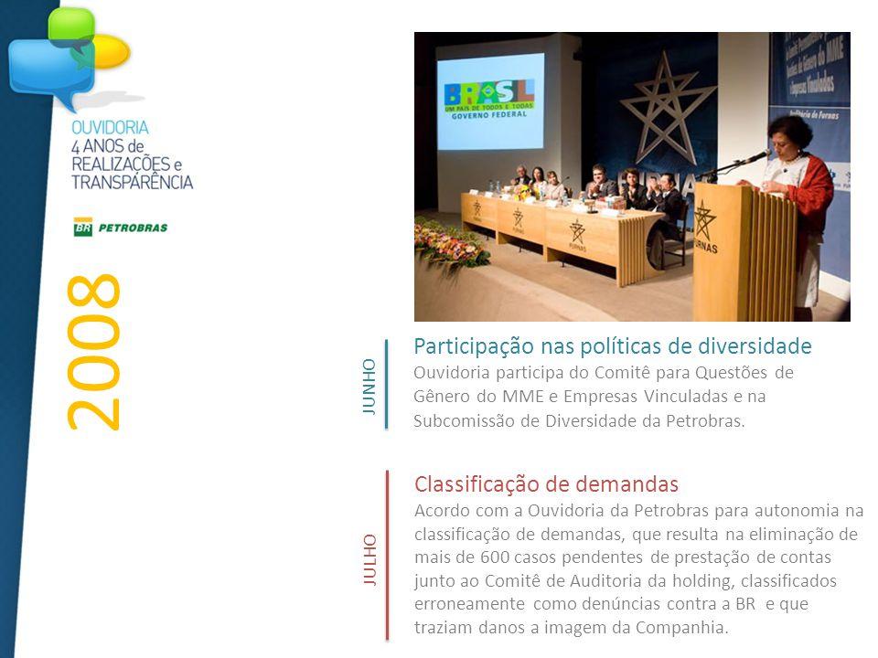 Participação nas políticas de diversidade Ouvidoria participa do Comitê para Questões de Gênero do MME e Empresas Vinculadas e na Subcomissão de Diversidade da Petrobras.