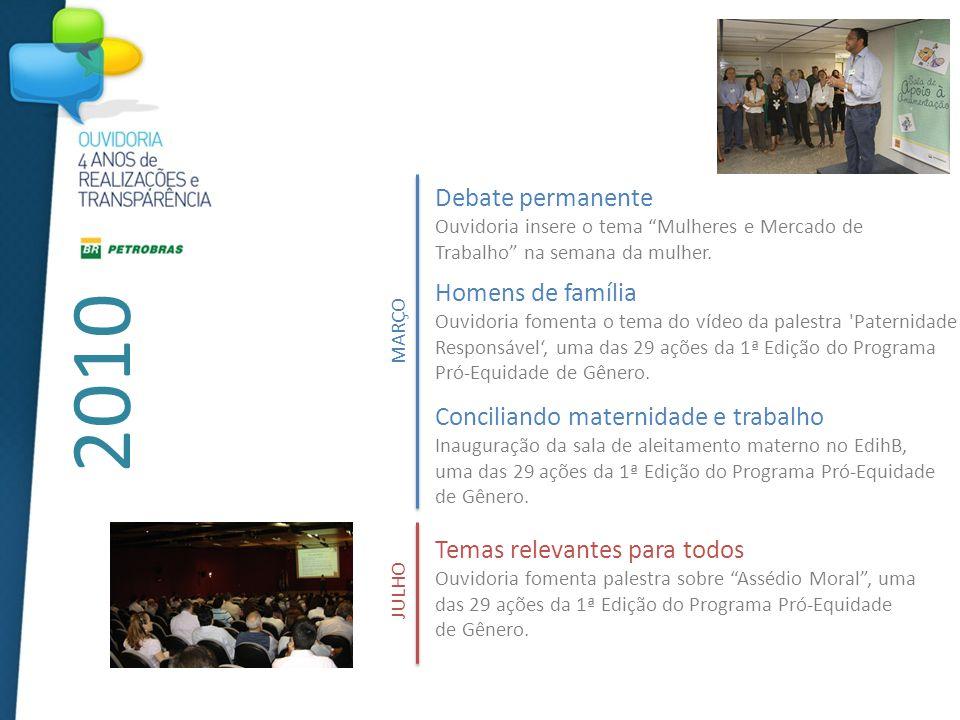 2010 JULHO Temas relevantes para todos Ouvidoria fomenta palestra sobre Assédio Moral, uma das 29 ações da 1ª Edição do Programa Pró-Equidade de Gênero.