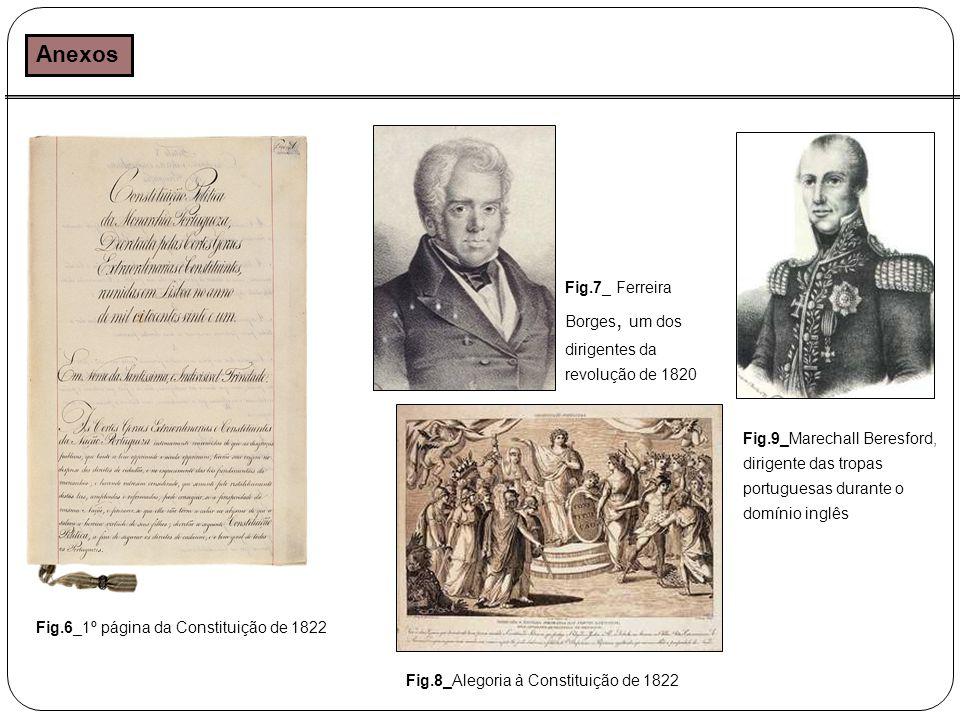 Anexos Fig.6_1º página da Constituição de 1822 Fig.8_Alegoria à Constituição de 1822 Fig.7_ Ferreira Borges, um dos dirigentes da revolução de 1820 Fig.9_Marechall Beresford, dirigente das tropas portuguesas durante o domínio inglês