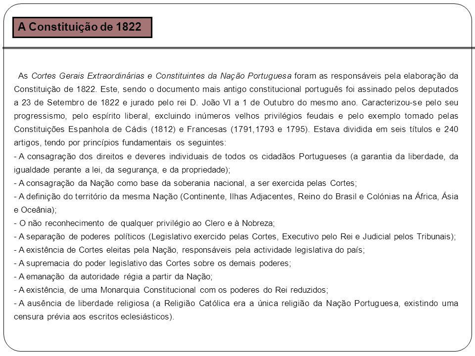 A Constituição de 1822 As Cortes Gerais Extraordinárias e Constituintes da Nação Portuguesa foram as responsáveis pela elaboração da Constituição de 1822.