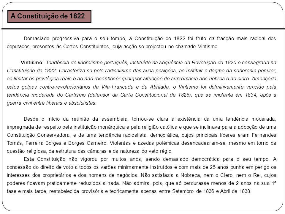 A Constituição de 1822 Demasiado progressiva para o seu tempo, a Constituição de 1822 foi fruto da fracção mais radical dos deputados presentes às Cortes Constituintes, cuja acção se projectou no chamado Vintismo.