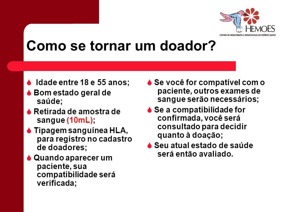 Como se tornar um doador? Idade entre 18 e 55 anos; Bom estado geral de saúde; Retirada de amostra de sangue (10mL); Tipagem sanguínea HLA, para regis