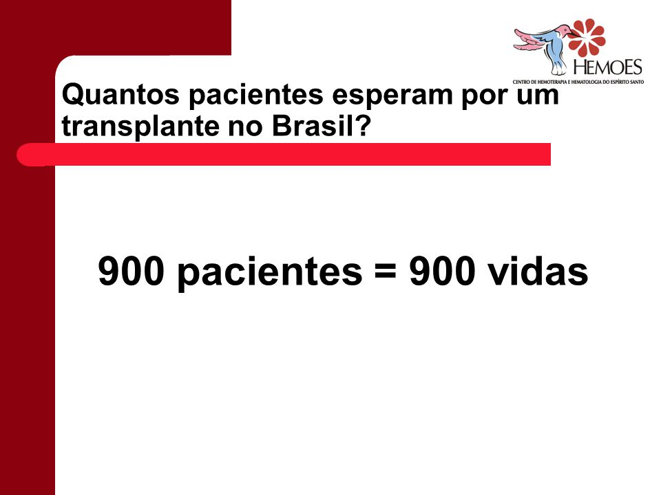 Quantos pacientes esperam por um transplante no Brasil? 900 pacientes = 900 vidas