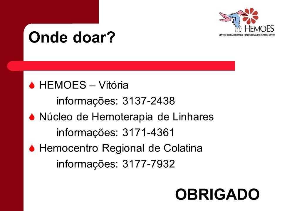 Onde doar? HEMOES – Vitória informações: 3137-2438 Núcleo de Hemoterapia de Linhares informações: 3171-4361 Hemocentro Regional de Colatina informaçõe