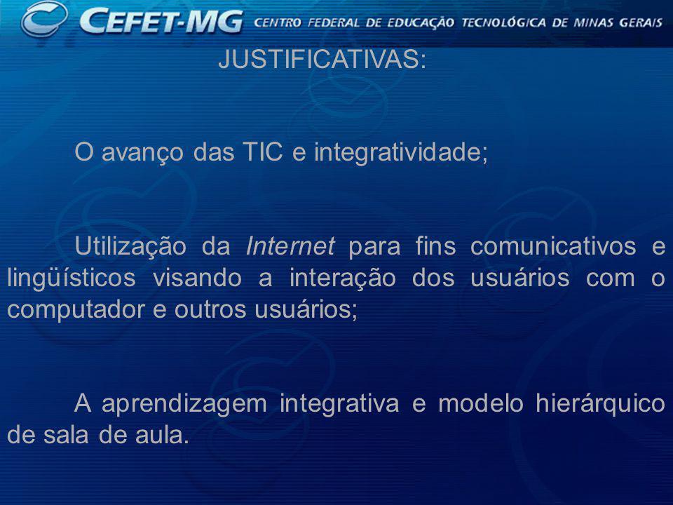 JUSTIFICATIVAS: O avanço das TIC e integratividade; Utilização da Internet para fins comunicativos e lingüísticos visando a interação dos usuários com o computador e outros usuários; A aprendizagem integrativa e modelo hierárquico de sala de aula.