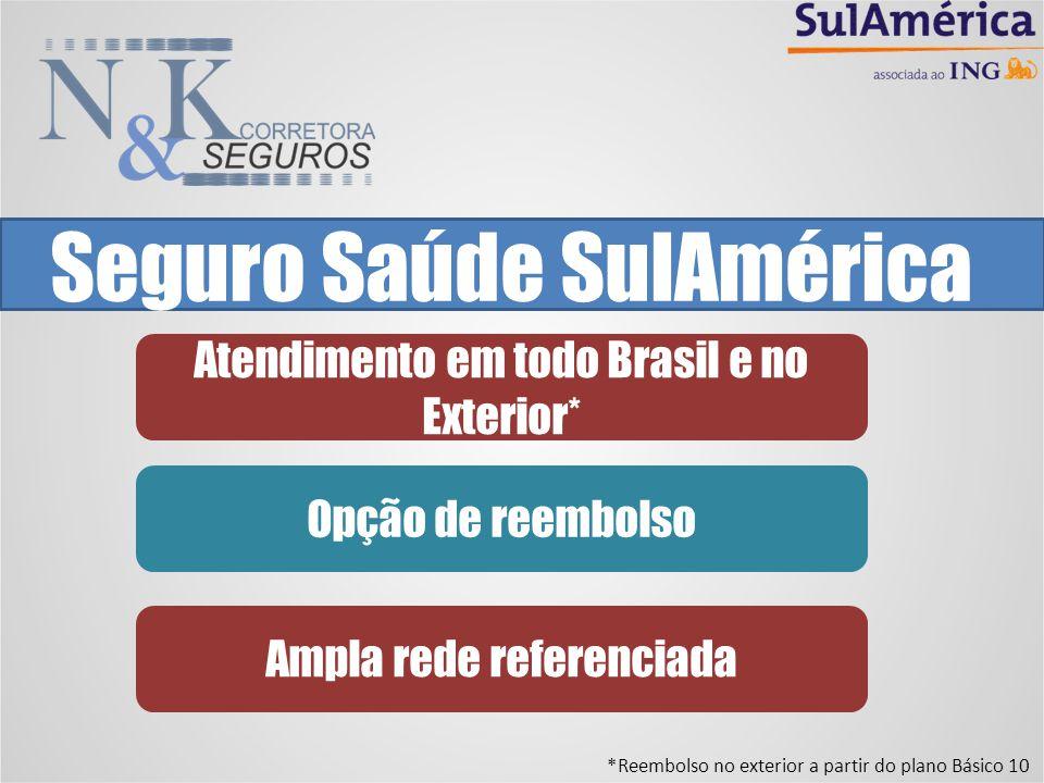 Seguro Saúde SulAmérica Atendimento em todo Brasil e no Exterior* Opção de reembolso Ampla rede referenciada *Reembolso no exterior a partir do plano