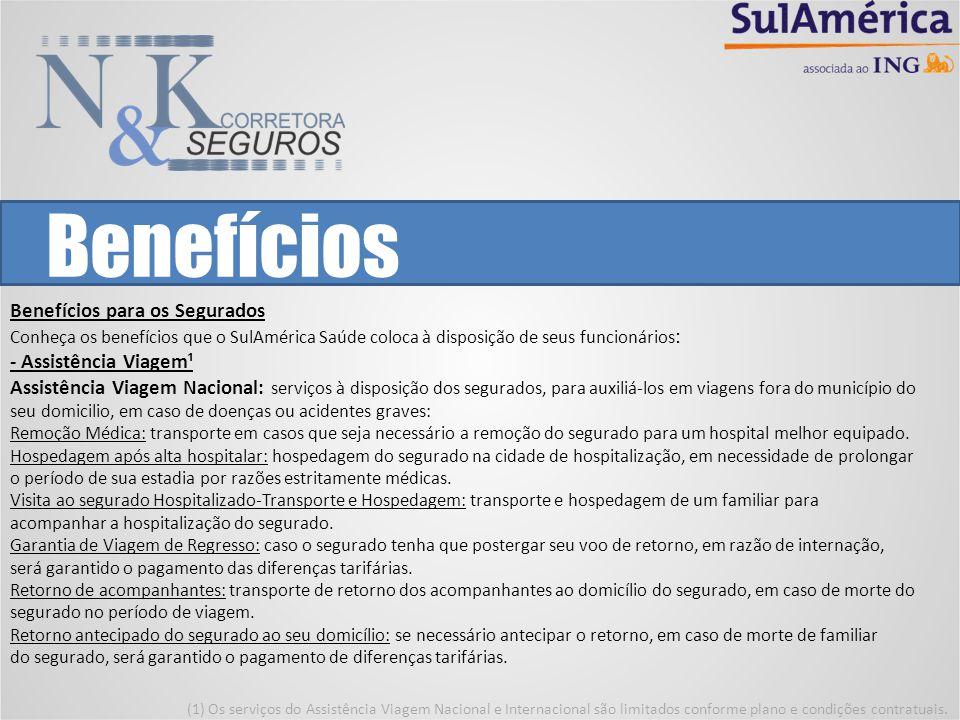 Benefícios Benefícios para os Segurados Conheça os benefícios que o SulAmérica Saúde coloca à disposição de seus funcionários : - Assistência Viagem¹