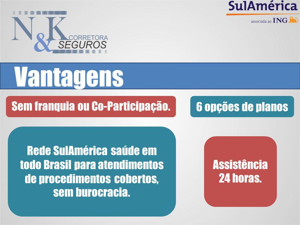 Vantagens Sem franquia ou Co-Participação.6 opções de planos Assistência 24 horas. Rede SulAmérica saúde em todo Brasil para atendimentos de procedime