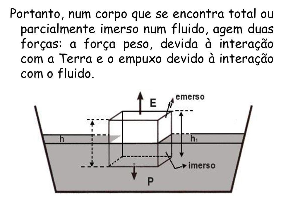 Portanto, num corpo que se encontra total ou parcialmente imerso num fluido, agem duas forças: a força peso, devida à interação com a Terra e o empuxo devido à interação com o fluido.