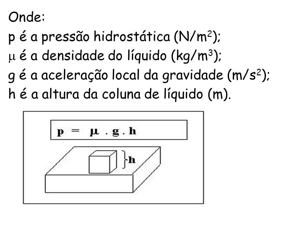 Onde: p é a pressão hidrostática (N/m 2 ); é a densidade do líquido (kg/m 3 ); g é a aceleração local da gravidade (m/s 2 ); h é a altura da coluna de líquido (m).